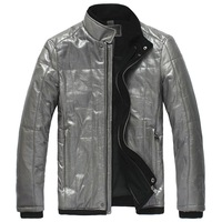 Genuine leather Men's clothing sheepskin leather thickening cotton-padded clothing male leather jacket coat plus size