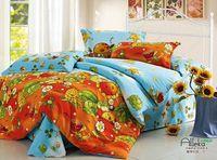 New Beautiful 100% Cotton 4pc Doona Duvet QUILT Cover Sets bedding set Full / Queen / King size 4pcs cartoon blue orange