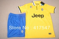 13/14 Juventus Away Yellow Soccer Jersey & Short Kit Uniforms with Embroidered Logo