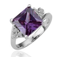 18KGP R094 Dark Purple Crystal 18KPlatinum Plated Ring Health Jewelry Nickel Free Plating Platinum Austrian Crystal SWA Element