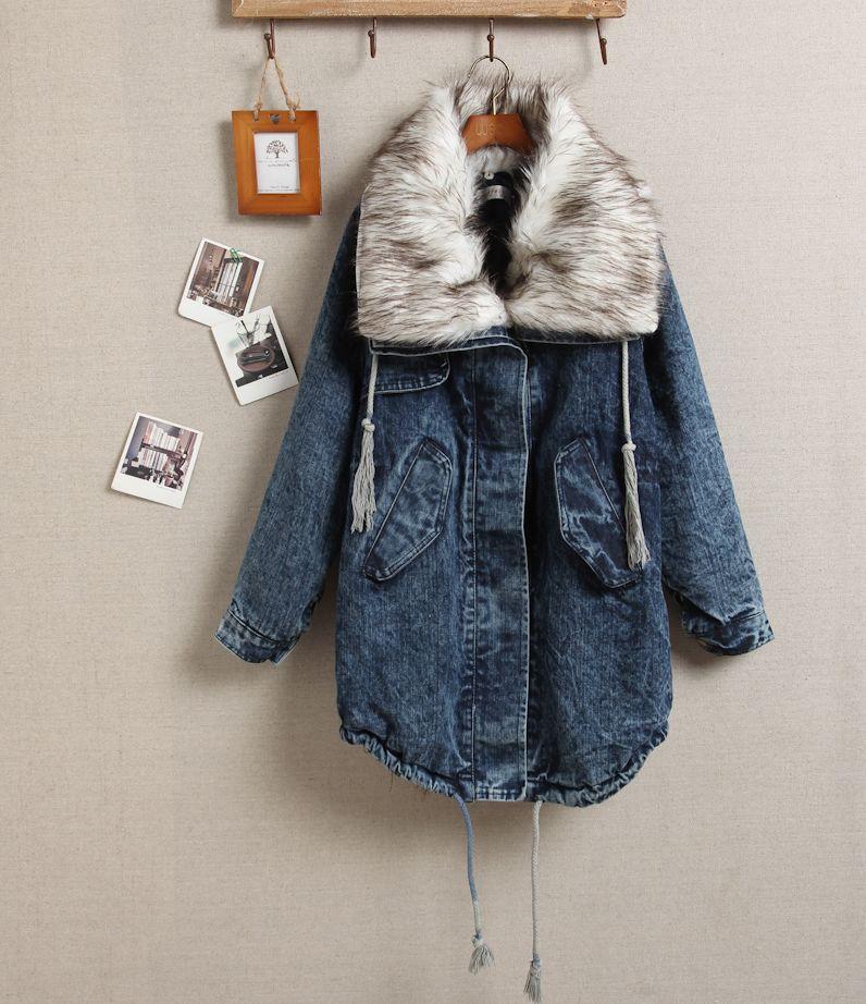 Джинсовое зимнее пальто
