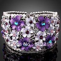 Free Shipping High Quality Austrian Crystal Rhodium Plated Purple Fashion Bangle Bracelet Jewelry