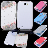New Pretty Flower Bling Magnetic Flip Style Leather Wallet Case Cover For Samsung Galaxy Note II Note 2 N7100  Free Shipping