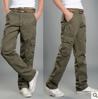 Overalls male trousers summer thin casual pants straight men's multi-pocket trousers olive loose pants free shipping