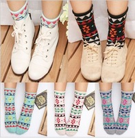 88 ! 2013 trigonometric spring pattern color block roll-up hem all-match socks spring female