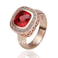 18KGP R057 Red-Stone Freeshipping, 18K gold plated rings, Fashion jewelry, nickel free, plating platinum, Rhinestone Rose gold