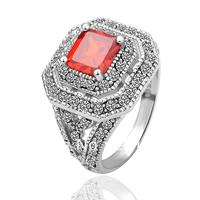 18K Gold Plated Ring Jewelry Nickel Free K Golden Plating Platinum Rhinestone Austrian Crystal SWA Element Red-Stone 18KGP R052