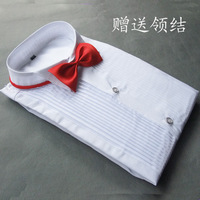 2013 new fashion cotton Lace Pleated  white boy formal shirt for matching suit with a bow