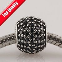 New 925 Sterling Silver Screw Core Charm Beads with Black Rhinestone Crystal, DIY Jewelry Fit European Charm Bracelet LW170C
