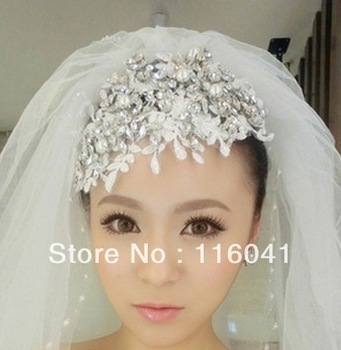 Free Shipping In stock Handmade Fabric Lace Crystal Luxury Headband Wedding Bridal Hair Accessories