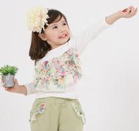 2013 spring and autumn children harem pants+ laciness 100% cotton flower long-sleeve t shirt 2 pieces sets