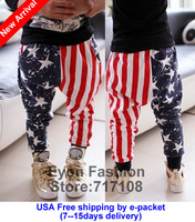 2014 spring fall new arrival fashion cotton five star striped flag printing kid boy harem trousers children pants