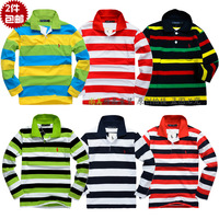 2013 autumn baby clothing T-shirt stripe long-sleeve shirt female male child turn-down collar polo 100% cotton