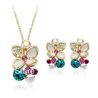 18K Real Gold plated Italina Rigant Elegant Flower Jewelry Set With Shining Rhinestone set
