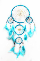 HOT!!! five circle beautiful dream catcher with small shell 1 piece/lot ,random colour ,Free shipping, Diameter :16cm-9cm-6cm