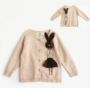 ot selling 2013 autumn winter Korean style fashion child 3D vivid Miss Rabbit sweater girl's gentlewomen cardigan kid's knitwear(China (Mainland))