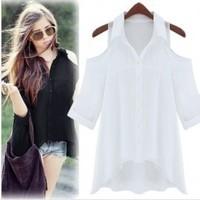 2013 star style sexy strapless unique turn-down collar shirt black white