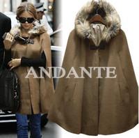 Star style fashion elegant type with a fur collar hood cloak outerwear