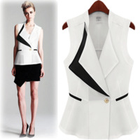 Fashion star style handsome large lapel suit style vest black and white
