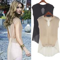 Fashion star style sleeveless knitted patchwork chiffon shirt dovetail type chiffon shirt