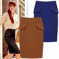 2013 spring white collar after placketing all-match bag medium skirt blue black