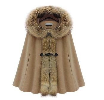 Star style fashion with a hood fur collar raccoon fur poncho outerwear overcoat camel dark grey
