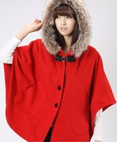 Fur collar with a hood cloak outerwear red black camel