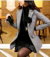 Fashion ladies elegant slim 3 suit jacket black ash corsage