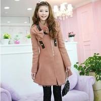 Sweet elegant long-sleeve slim stand collar side zipper overcoat outerwear female