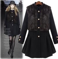 Fashion vintage fashion stand collar luxury rabbit fur vest detachable skirt slim wool coat short in size