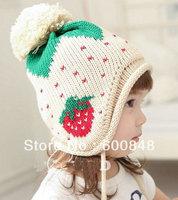 girls strawberry beanie winter hats girls children Kids Baby knitted hat  headwear 57