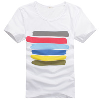 2013 summer all-match men's clothing fashionable T-shirt short-sleeve o-neck casual t-shirt male wholesale free shipping