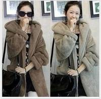 2013 autumn and winter women loose cloak thermal thickening plush outerwear hooded outerwear with belt
