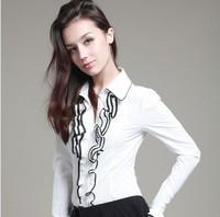 Free Shipping Pink Doll Turn-down Collar Ruffles Long Sleeve Slim Fit Body Shirts Top