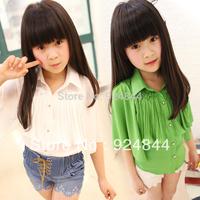 Children's clothing 2014 summer female child pleated cloak ice cream batwing shirt short-sleeve shirt child shirt Free Shipping