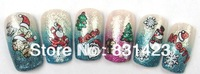 20pcs/lot Fashion 3D Glitter Christmas Nail Sticker for nail art decorations.Free Ship