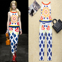 Free shipping 2013 spring and summer women's fashion rhombus heart print top trousers set