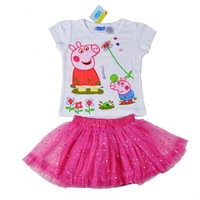 2013 new children 's set 5pcs/1lot,girls clothing,girls Peppa Pig dress for girl, high quality 100% cotton t shirt+skirt set