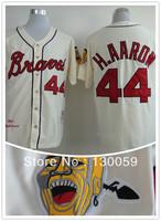 Free Shipping Wholesale Mens Baseball Jersey Cheap Atlanta Braves 44 Hank Aaron 1963 Throwback Cream Jerseys,Mix Order