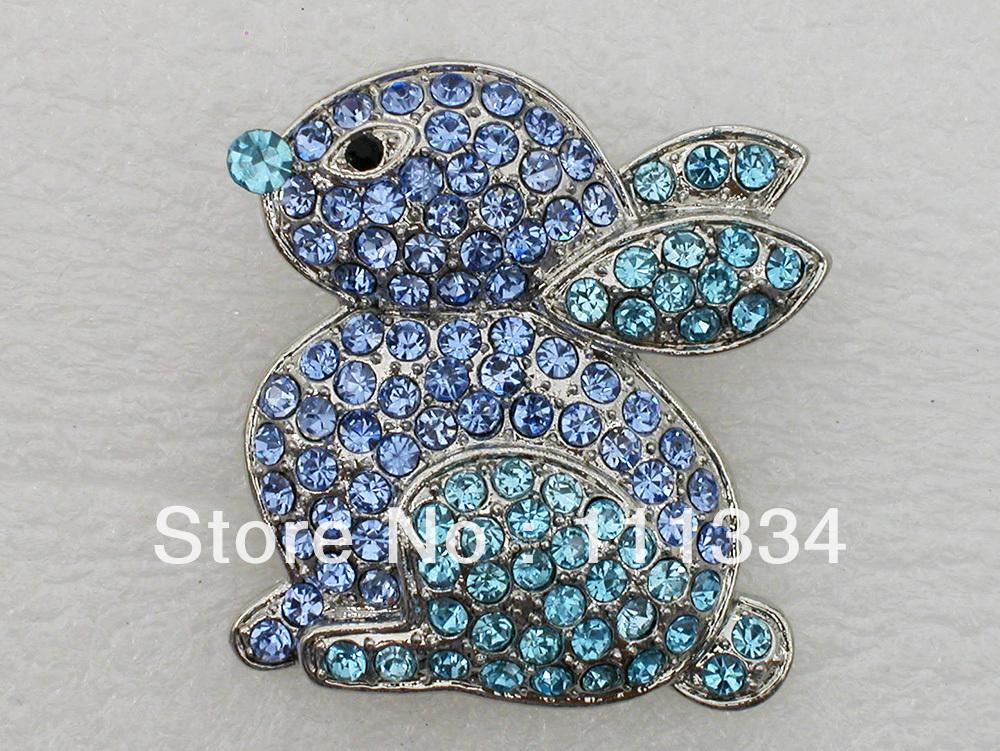Wholesale 12 pieces jewelry gift Aquamarine Rhinestone brooch,Crystal Easter Bunny Brooch pin,Fashion Costume Brooch C745(China (Mainland))