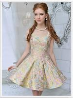 S-XL free shipping manufacturers supply Women's pink jacquard slim big swing harness dress#W9988