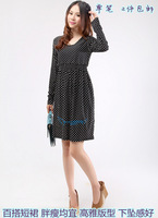 2013 autumn one-piece dress print dress dot patchwork long-sleeve slim one-piece dress