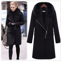 Winter fashion luxury overcoat slim fox fur thermal slim woolen outerwear