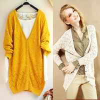 022 autumn medium-long V-neck long-sleeve women's plus size cutout sweater cardigan