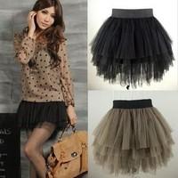 Spring 2014 New fashion  ladies short skirt Four gauze skirt puff women casual skirt lace skirt  black women free shipping