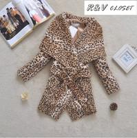 [RV] 2014 spring New Women fashion leopard Jacket Turn-down collar fur lacing wool coat outerwear coat 3/4 sleeve M -XXXL