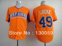 Free Shipping Wholesale Cheap 2013 All Star National League Pittsburgh Pirates #49 Jeff Locke Orange Jersey,Embroidery Logos