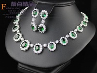 2013 fashion jewlery, Emerald necklace earrings set jewelry zircon banquet formal dress jewelry set