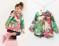 2013 autumn/winter girl big polar fleece flower trench coat