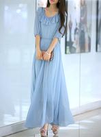 Hot Sale!  plus size 2014 bohemia beach full dress chiffon one-piece dress summer elegant full dress